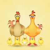 Chickens family Stock Photo