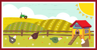 Chickens in the Field. Cute Vector illustration of chickens in the field and a chicken coop. Eps10 royalty free illustration