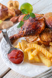 Chickens with French fries Royalty Free Stock Photo