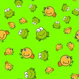 Chickens and frogs seamless pattern in cartoon style stock illustration