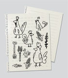 Chickens and hens. Drawinf of chickens and hens on linked paper sheet Stock Photos