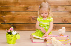 Chickens learning to read. Little blonde girl reading books and alive chickens on brown wooden wall background Royalty Free Stock Images