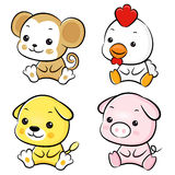 Chickens and Monkey, Dogs and Pigs Mascot Royalty Free Stock Photos