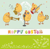 Chickens musicians greet with a happy Easter Stock Image