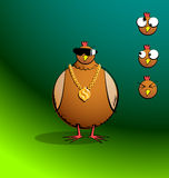 Chickens R Round - Bling Chicky. Part of a series. Cartoon chicken looking all gangsta with bling chain and sunnies, three additional expressions included. All Royalty Free Stock Photo