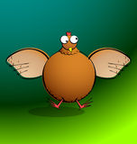 Chickens R Round - Chicken Flapping. Part of a series. Cartoon chicken flapping her wings. All elements are clearly named, grouped, and layered to allow easy Royalty Free Stock Image