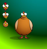 Chickens R Round - Confused Chicken. Part of a series. Cartoon chicken with 3 additional facial expressions. All elements are clearly named, grouped, and layered Stock Image