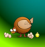 Chickens R Round - Hen Eggs and Chick. Part of a series. Cartoon chicken with eggs and a chick. All elements are clearly named, grouped, and layered to allow Royalty Free Stock Photo