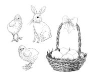 Chickens, rabbit and basket Stock Photo