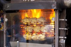 Chickens roasting machine Royalty Free Stock Photography