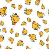 Chickens seamless pattern in cartoon style stock illustration