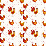 Chickens seamless pattern Stock Photo