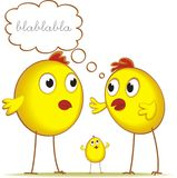 Chickens talking. A pair of parent chickens and their baby chick in a comic style illustration Stock Photos