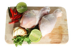 Chickens and vegetables Stock Photo