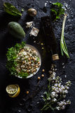 Chickpea, Avocado, Green Onion and Feta Cheese Salad Royalty Free Stock Images