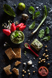 Chickpea, Avocado, Spinach, Green Onion and Feta Cheese Dip on a Toast Royalty Free Stock Photography