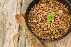 Chickpea and bacon stew Royalty Free Stock Photo