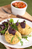 Chickpea cakes with tomato salsa Royalty Free Stock Image