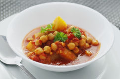 Chickpea Curry. A Portion of Delicious Chickpea curry with potato cubes royalty free stock images