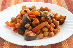 Chickpea with eggplant Royalty Free Stock Images