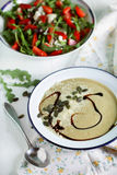 Chickpea eggplant creamy soup with pumpkin seeds and salad Royalty Free Stock Photos