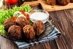 Chickpea falafel balls with vegetables Royalty Free Stock Photo