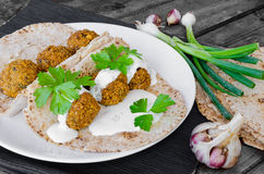 Chickpea falafel with lebanese bread Stock Photos