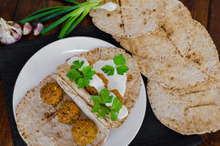 Chickpea falafel with lebanese bread Stock Image