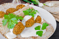 Chickpea falafel with lebanese bread Royalty Free Stock Photo