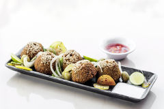 Chickpea falafel middle eastern food snack platter starter set Stock Photo