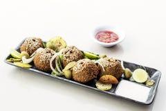 Chickpea falafel middle eastern food snack platter starter set Royalty Free Stock Photo