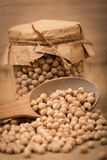 Chickpea in a glass jar Stock Image