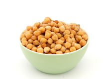 Chickpea in green bowl detail Stock Photo