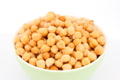 Chickpea in green bowl detail Royalty Free Stock Image