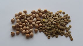 Chickpea and green lentil Stock Photo