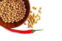 Chickpea and a hot pepper Stock Images