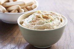 Chickpea hummus bowl with bread sticks Royalty Free Stock Image