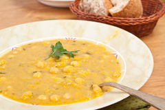 Chickpea and lentil soup. Pot of chickpea and lentil moroccan soup Stock Images