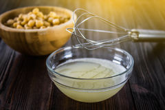 Chickpea liquid water brine draining. Vegan Aquafaba. Royalty Free Stock Images