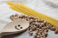 Chickpea and pasta. On a white bag Royalty Free Stock Images