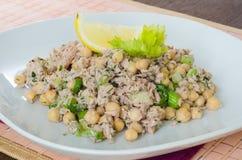 Chickpea sałatka z tuńczykiem, cytryną i ziele, Fotografia Stock