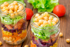 Chickpea salad with fresh vegetable Stock Photo