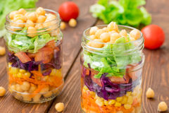Chickpea salad with fresh vegetable Stock Photos