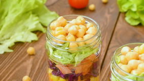 Chickpea salad with fresh vegetable stock footage