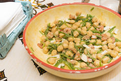 Chickpea salad with prawns Stock Photos