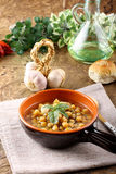 Chickpea soup on bowl Royalty Free Stock Image