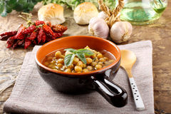 Chickpea soup on bowl Royalty Free Stock Photography