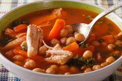 Chickpea soup with chicken close up in a bowl. horizontal Royalty Free Stock Photos