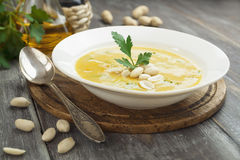 Chickpea soup with peanuts and herbs Royalty Free Stock Photo