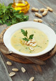 Chickpea soup with peanuts and herbs Stock Photography